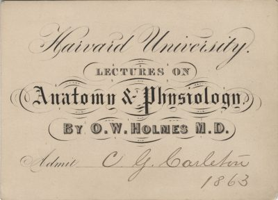 Harvard University, Oliver Wendell Holmes medical lecture ticket, 1863