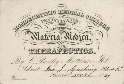 Homeopathic Medical College of Pennsylvania (Hahnemann/Drexel University), medical lecture ticket, 1849