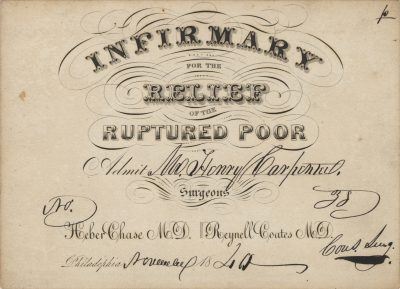 Infirmary for the Relief of the Ruptured Poor, medical lecture ticket, 1840