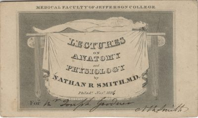Jefferson Medical College, Nathan Smith medical lecture ticket, 1826