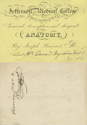 Jefferson Medical College, Joseph Pancoast medical lecture ticket, 1845