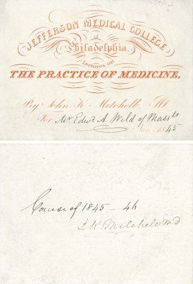 Jefferson Medical College, John Mitchell medical lecture ticket, 1845