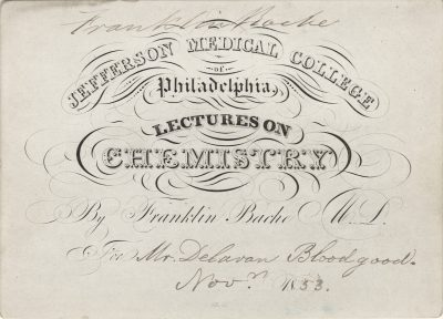 Jefferson Medical College, Franklin Bache medical lecture ticket, 1853