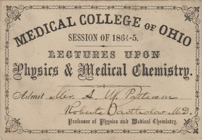 Medical College of Ohio, medical lecture ticket, 1864-65
