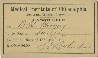 Medical Institute of Philadelphia, medical lecture ticket, 1883-84