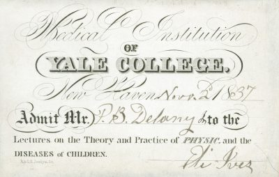Medical Institution of Yale College, medical lecture ticket, 1837-38