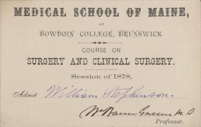 Medical School of Maine at Bowdoin College, medical lecture ticket, 1878