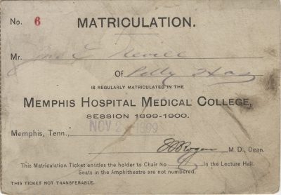 Memphis Hospital Medical College, medical lecture ticket, 1899-1900