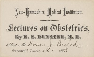 New Hampshire Medical Institution, Dartmouth College, medical lecture ticket, 1883