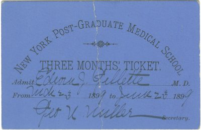 New York Post-Graduate Medical School, medical lecture ticket, 1899