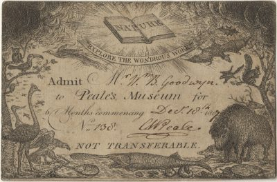 Peale's Museum, medical lecture ticket, 1807