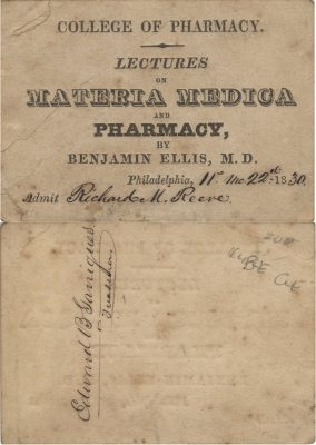 Philadelphia College of Pharmacy (University of the Sciences), medical lecture ticket, 1830