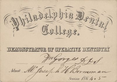 Philadelphia Dental College (Kornberg School of Dentistry, Temple University), medical lecture ticket, 1864-65