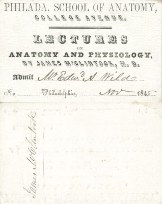 Philadelphia School of Anatomy (merged into Philadelphia Polyclinic and College for Graduates in Medicine), medical lecture ticket, 1845