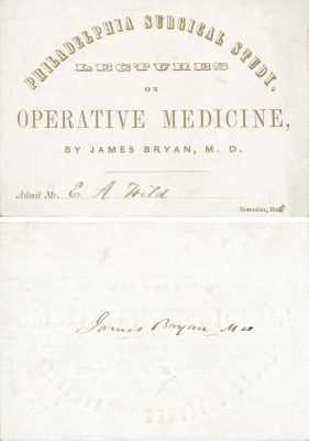 Philadelphia Surgical Study, medical lecture ticket, 1845
