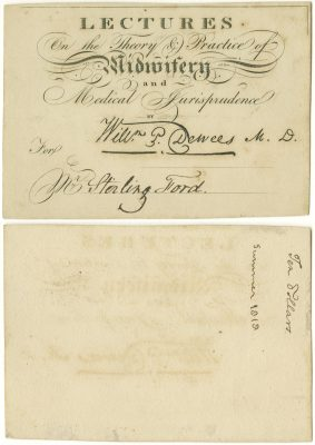 Private, Midwifery and medical jurisprudence medical lecture ticket, 1818