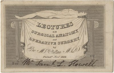 Private, Surgical anatomy and operative surgery medical lecture ticket, 1822