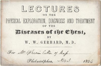 Private, Diseases of the chest medical lecture ticket, 1854