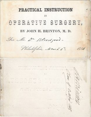 Private, Operative surgery medical lecture ticket, 1856