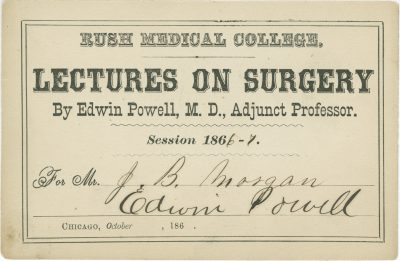 Rush Medical College (Rush University Medical Center), medical lecture ticket, 1866-67