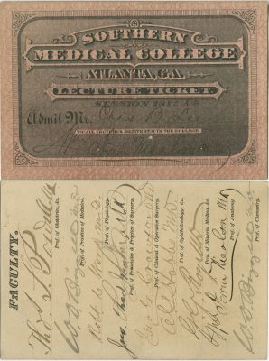 Southern Medical College (Emory University School of Medicine), medical lecture ticket, 1882-83