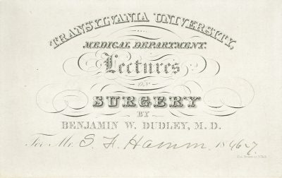 Transylvania University (discontinued), medical lecture ticket, 1846-47