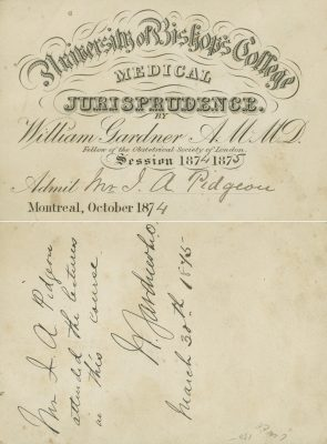 University of Bishop's College (McGill University Faculty of Medicine), medical lecture ticket, 1874