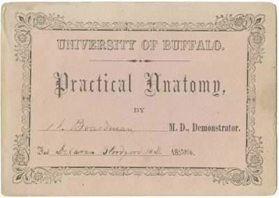 University of Buffalo (School of Medicine and Biomedical Sciences, State University of New York at Buffalo), medical lecture ticket, 1855-86