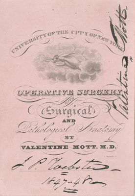 University of the City of New York (New York University), medical lecture ticket, 1847-48
