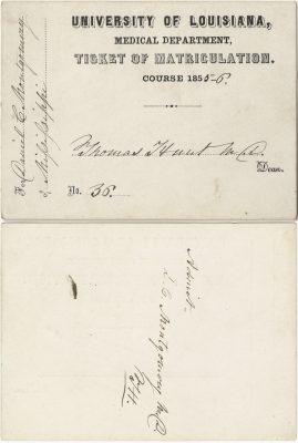 University of Louisiana (Tulane University), medical lecture ticket, 1855-56