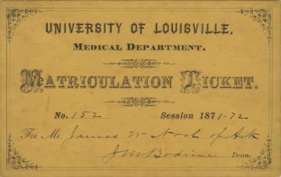 University of Louisville, medical lecture ticket, 1871-72