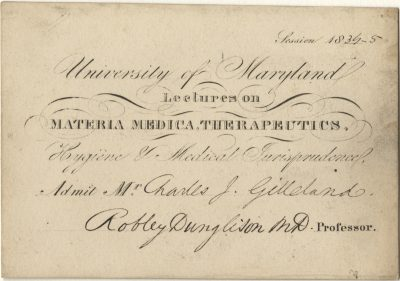University of Maryland, medical lecture ticket, 1834-35