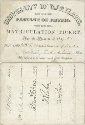 University of Maryland, medical lecture ticket, 1847-48