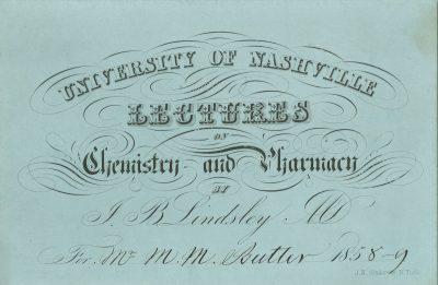 University of Nashville (Vanderbilt University), medical lecture ticket, 1858-59