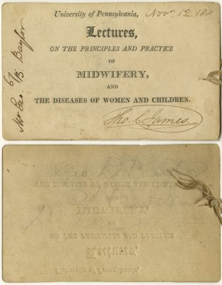 Admission ticket, Thomas Chalkey Jame's lectures on midwifery and diseases of women and children, 1811