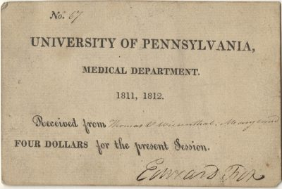 Matriculation ticket, Thomas van Dyke Wiesenthal, 1811-12