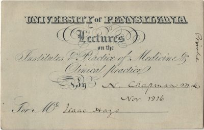 Admission ticket, Nathaniel Chapman's lectures on Institutes and practice of medicine and clinical practice, 1816