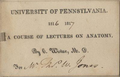 Admission ticket, Caspar Wistar's lectures on Anatomy, 1816