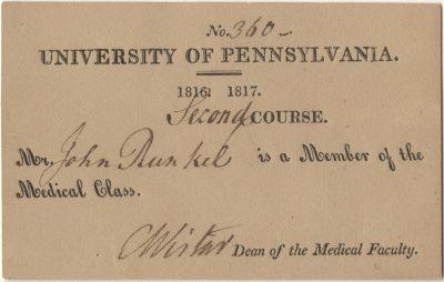 Matriculation ticket, John Runkel, 1816-17