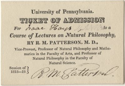 Admission ticket, Robert Maskell Patterson's lectures on Natural philosophy, 1818