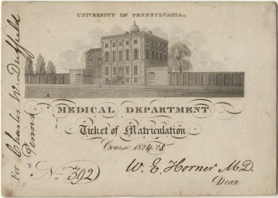 Matriculation ticket, Charles W. Duffield, 1824-25