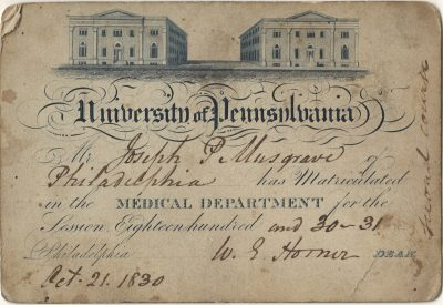 Admission ticket, Philip Syng Physick and William Edwards Horner's lectures on Anatomy, 1831