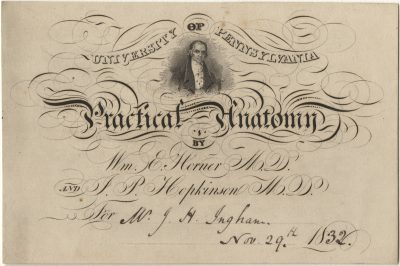 Admission ticket, William Edmonds Horner and John Pennington Hopkinson's lectures on Anatomy, 1832