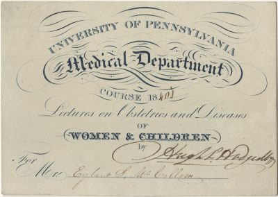 Admission ticket, James B. Rogers' lectures on Chemistry, 1848