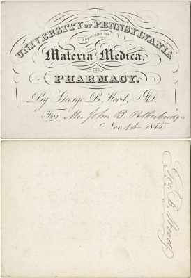 Admission ticket, Hugh L. Hodge's lectures on Obstetrics and diseases of women and children, 1840