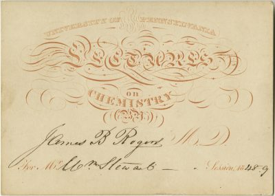 Admission ticket, George B. Wood's lectures on Materia medica and pharmacy, 1845