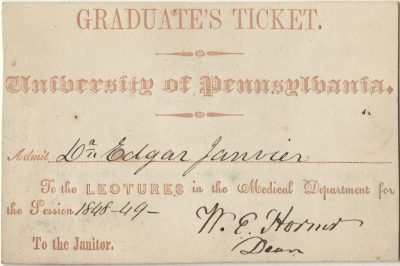 Graduate's ticket, Edgar Janvier, 1848-49