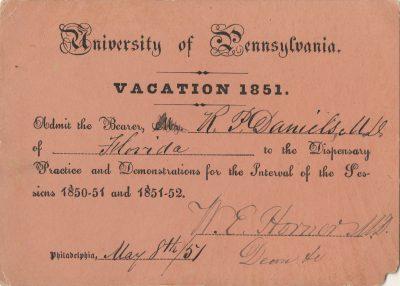 Ticket to Dispensary, Richard P. Daniel, 1851