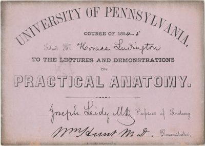 Admission ticket, Joseph Leidy and William Hunt's lectures on Anatomy, 1854-55