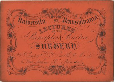 Admission ticket, Henry H. Smith's lectures on Surgery, 1856-57
